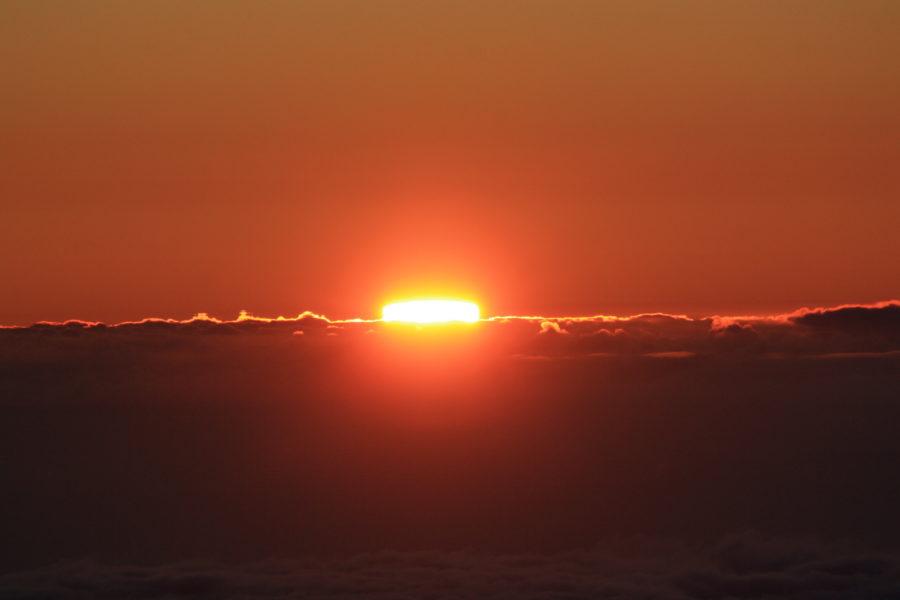 Sole distorto al tramonto